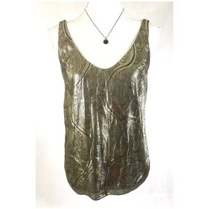 J CREW Silk Gold Metallic Paisley Print Lined Tank